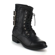 REFRESH DASON-05 Women's Military Low Heel Lace up Side zip Mid-calf Riding Combat Boot * Click image for more details.