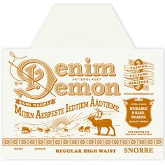 The Denim Demon's trademark character advertises the 'reindeer people' jeans brand in a true iconic way.