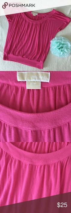 Michael Kors Pink Blouse Top Michael Kors pink top. Scoop neck. Short sleeves. Soft fabric. Gently worn. Small pettite but runs bigger size. I used to wear it on the shoulder or off the shoulder but it doesn't fit me anymore. Michael Kors Tops Blouses