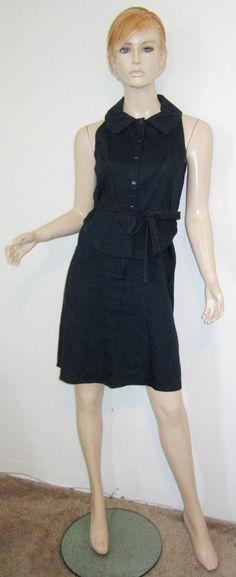 ELIE TAHARI STEVIE Navy Linen Rayon Stretch Collared Peplum Sash Shirt Dress 4...http://stores.shop.ebay.com/vintagefluxed