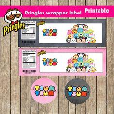 "Tsum Tsum Pringles Wrappers, 3"" round images, PRINTABLE, JPG/PDF"