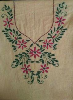 Hand Embroidery Dress, Kurti Embroidery Design, Embroidery Neck Designs, Hand Embroidery Stitches, Embroidery Fashion, Embroidery Applique, Floral Embroidery, Textile Pattern Design, Chudidhar Neck Designs
