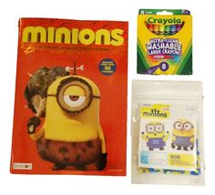 New Minion Coloring Activity Sticker Book Set with Minions Bob Fused Iron Bead Kit and Crayola Ultra-clean Washable Large Crayons