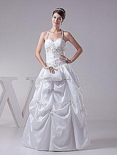 Halter Strap Embroidery and Pleated Taffeta Wedding Dress - USD $196.00