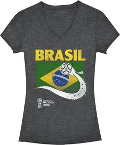 888265cbabd Fifth Sun Women s FIFA 2018 World Cup Russia Brazil Trophy Logo Charcoal T- Shirt
