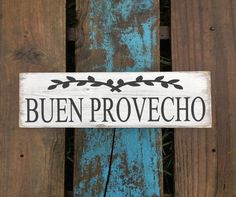 Spanish wood sign for home decor. Buen Provecho. Muestra de la | Etsy