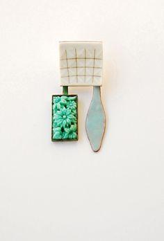 Brooch 2011 blu_men II enamel on copper, porcelain, glass, gold  3 cm x 6 cm by Danni Schwaag