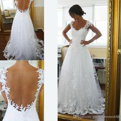 2017 Vintage Sheer A Line Wedding Dresses Cheap Bridal Gown Dresses For Garden Beach Wedding Bride High Quality Lace V Neck Plus Size Custom Wedding Dresses Shops Wedding Dresses Websites From Perfectmoment88, $128.15| Dhgate.Com
