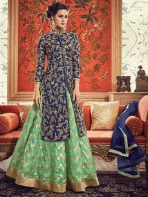 Shop Blue and Green Banarasi Silk Embroidered Lehenga online (SKU Code : at Ishimaya. Latest party wear suits, Straight cut suits online , designer straight suits and more for parties & family wedding functions. Choli Designs, Lehenga Designs, Kurta Designs, Blouse Designs, Mehndi Designs, Indian Fashion Dresses, Indian Designer Outfits, Pakistani Dresses, Indian Outfits