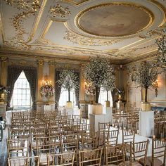 Luxury wedding decor for a stately home wedding. Our romantic ballroom can seat up to 132 of your nearest and dearest. Summer Wedding Venues, Wedding Ceremony Ideas, Ceremony Seating, Civil Ceremony, Summer Weddings, Wedding Vows, Wedding Cakes, Luxury Wedding Decor, Home Wedding