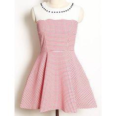Vintage Jewel Neck Sleeveless Nail Bead Color Splicing Polka Dot Dress For Women