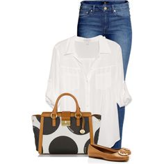 A fashion look from August 2014 featuring white blouse, blue pants and tory burch shoes. Browse and shop related looks. Casual School Outfits, Summer Outfits, Cute Outfits, Summer Wear, Work Outfits, Spring Summer, Casual Fall, Casual Summer, Evening Outfits
