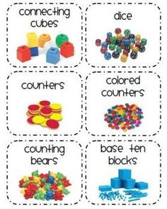 24 storage labels for math manipulatives ideas from the labels Classroom Labels, Classroom Organisation, Teacher Organization, Math Labels, Classroom Supplies, Classroom Management, Math Manipulative Labels, Classroom Ideas, Organizing
