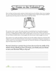 Worksheets: Come to the Colonies!