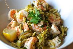 zoodles and shrimp scampi