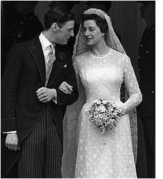 Princess Alexandra and her new husband, The Hon. Angus Ogilvy on their wedding day in 1963