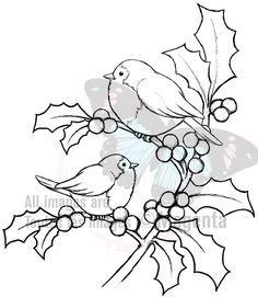 pergamano - Page 2 Magenta Cling Stamp - Christmas Holly Birds Bird Embroidery, Christmas Embroidery, Embroidery Patterns, Stitch Patterns, Christmas Coloring Pages, Coloring Book Pages, Christmas Colors, Christmas Art, Xmas