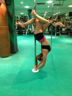 A P R I L 2 0 1 4 My hang back variation.  Back needs more flexibility to make this pop more. Proud to have achieved this. #pole #hangback