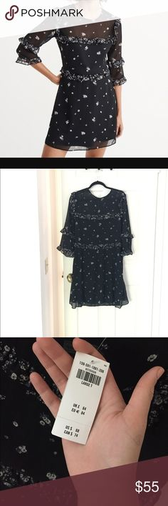 NWT Abercrombie and Fitch Chiffon Ruffle Dress So cute! Large Tall Abercrombie & Fitch Dresses Mini