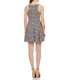GB Printed Zigzag-Print Fit-and-Flare Dress