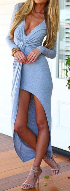 Comfy & cUte Front Twist Jersey Knit Split Dress