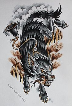 Awesome Wolf with bell drawing
