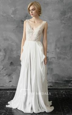 Plunged Sleeveless Chiffon Pick Up Wedding Dress With Appliques - June Bridals