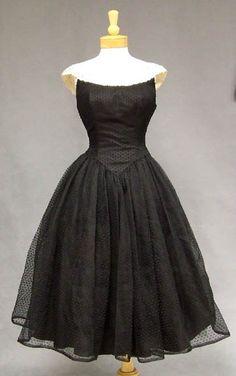 Vintageous, LLC - Elegant Point D'esprit Marquisette 1950's Dress w/ Lace, $205.00 (http://www.vintageous.com/elegant-point-desprit-marquisette-1950s-dress-w-lace/)