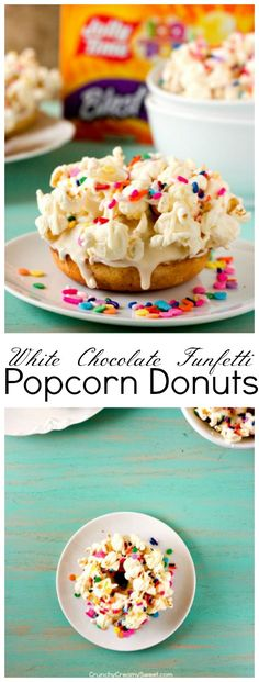 White Chocolate Funfetti Popcorn Donuts - two fun treats in one! Dress up delicious vanilla donuts with white chocolate glaze and freshly popped popcorn! Add colorful funfetti and celebrate! #jollytime100