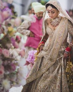 New sabyasachi bridal lehenga white indian weddings Ideas Indian Bridal Outfits, Indian Bridal Fashion, Indian Bridal Wear, Bridal Dresses, Indian Wedding Dresses, Sabyasachi Lehenga Bridal, Indian Bridal Lehenga, Lehenga Choli, Punjabi Lehenga