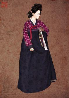 한복 Hanbok : Korean traditional clothes[dress]  | hanbok illustration