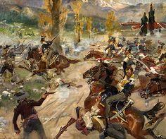 Kossak, Jerzy (b,1886)- Charge of Polish Light Horse- Batlle of Somosierra, 1808