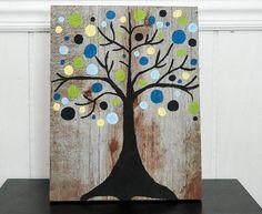 Tree Wall Art - Reclaimed Barnwood Sign - Modern Tree Design - Blue and Green Decor - Barn Wood Art
