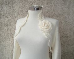 Dreamy Bridal Ivory Shrug Knitting Undecorated by Starknitting, $85.00