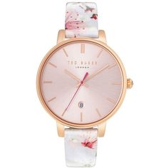 Women's Ted Baker London Kate Round Leather Strap Watch, 38Mm (2.061.500 IDR) ❤ liked on Polyvore featuring jewelry, watches, leather strap watches, floral watches, ted baker jewellery, ted baker and round watches