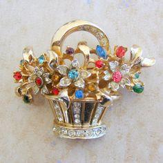 $25 Coro Goldtone Flower Basket Vintage Pin Brooch by Charmcrazey via Etsy.com