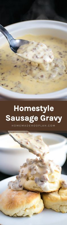 Homestyle Sausage Gravy! Get your comfort food fix with classic sausage gravy, perfect for a lazy morning and ready in less than 30 minutes! | HomemadeHooplah.com
