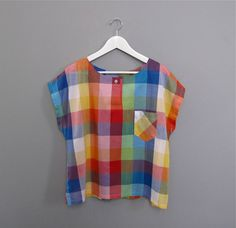 vintage CHECKERED plaid colorful shirt by secretlake on Etsy Vintage Shirts, Vintage Outfits, Vintage Fashion, Swagg, Colorful Shirts, Style Me, Kids Fashion, Women Wear, Cute Outfits