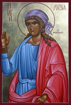 Saint Lydia my Michael Hadjimichael - May 20 Byzantine Icons, Pentecost, Orthodox Icons, Christianity, Disney Characters, Fictional Characters, Saints, Princess Zelda, Female