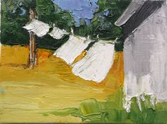 California impressionist plein air landscape oil painting titled Summer Farm Laundry.  The signed painting measures 6 x 8 inches on prepared,