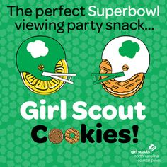 Superbowl is right around the corner! Add a sweet treat to your party lineup. - The Superbowl is right around the corner! Add a sweet treat to your party lineup with Girl Scout Co -The Superbowl is right around the corner! Add a sweet treat . Girl Scout Cookie Meme, Selling Girl Scout Cookies, Girl Scout Cookie Sales, Girl Scout Cookies Recipes, Brownie Girl Scouts, Daisy Girl Scouts, Girl Scout Troop, Scout Leader, Brandy Snaps