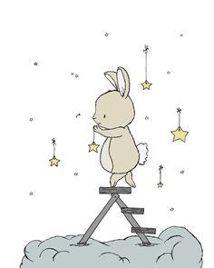 Bunny Nursery Art -- Bunny Hangs The Stars -- by Sweet Melody Designs