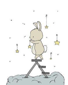 Bunny Nursery Art -- Bunny Hangs The Stars