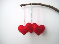 Red Heart Eco Felt Ornament - Handmade - Valentine's Day - Christmas Tree Ornament - Holiday Decoration