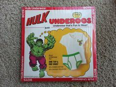 Scarce Vintage Marvel Comics Incredible Hulk 70's 80's Underoos New | eBay
