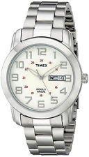 Timex T2N437 Men's Silvertone Bracelet Watch Day/Date 50 Meter Indiglo