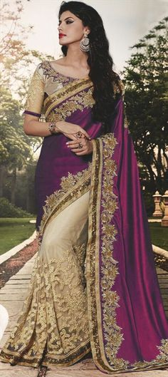 706992 Beige and Brown, Pink and Majenta color family Embroidered Sarees, Party Wear Sarees in Faux Georgette, Net, Satin fabric with Lace, Machine Embroidery, Thread, Zari work with matching unstitched blouse.