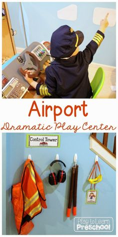 Airport dramatic play center in a preschool classroom