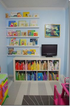 Book storage in the girls' playroom