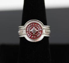 Vintage Dunhill Monte Cruz Las Palmas Sterling Silver Red Ename Cigar Band Ring   eBay